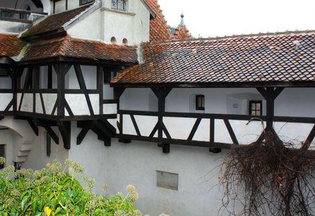 Public yard of Bran castle from Bran, inTransylvania
