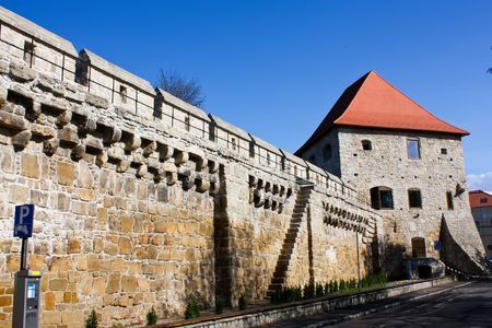 Very old bastion from Cluj Napoca city, in spring time scene.