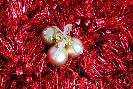 Christmas balls wrapped in garland Stock Photo - 6080725