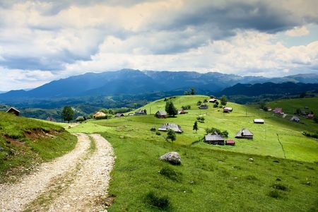 convoluted: Country road in Transylvania from Romania Stock Photo