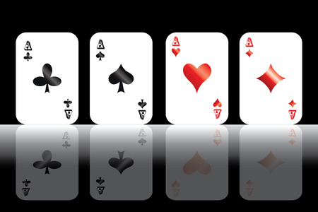 Four aces isolated on black background