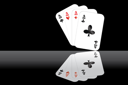 blacks: Good hand of four aces isolated on black background