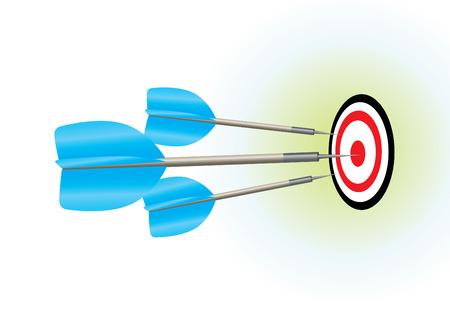 Three darts smack in the center of the board.  Vector