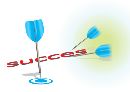 3 darts on a white background symbol of success. Vector