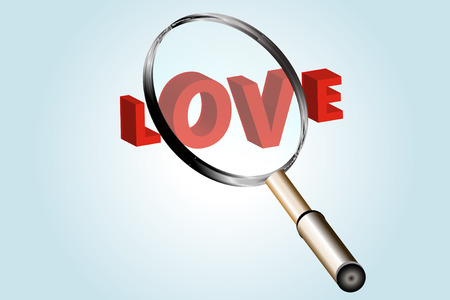 Illustration with the word love under magnifying glass Stock Illustration - 6277321