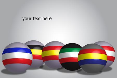 all european flags: European Collection 3D render globe flags