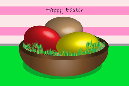 Illustration with painted Easter eggs in basket Stock Vector - 6430914