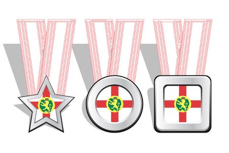 victorious: Different types of medals with Alderney flag on top