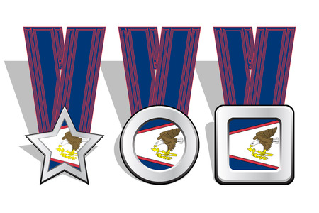 victorious: Different types of medals with American Samoa flag on top Illustration