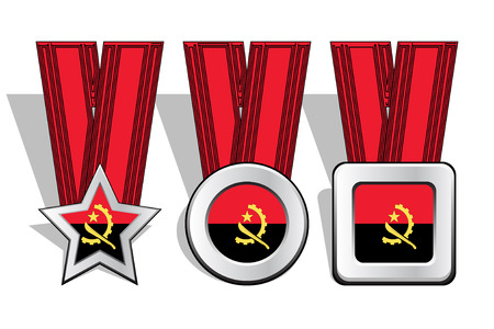 victorious: Different types of medals with Angola flag on top
