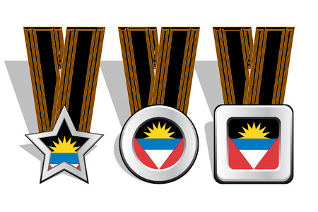 antigua barbuda: Different types of medals with Antigua Barbuda flag on top
