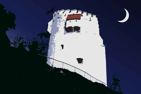 brasov: The White Tower from Brasov city Illustration