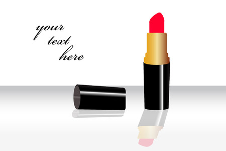lascivious: Lipstick isolated on shinny background Illustration
