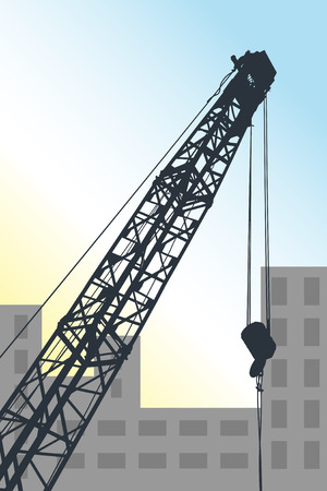 Graphic illustration of mobile crane against urban place