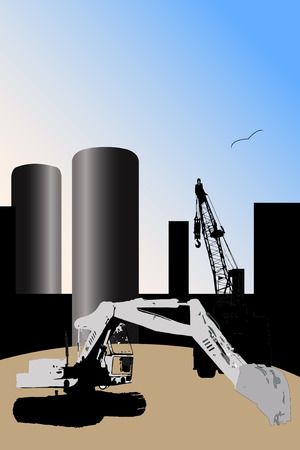Large construction site on sunset Stock Vector - 6511034