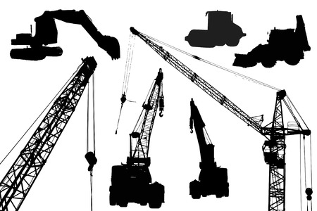 Silhouettes of industrial equipment like machinerys and cranes. Illustration