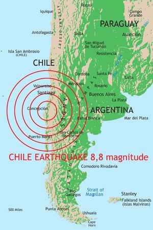8.8 magnitude earthquake from Chile (27 february 2010) Stock Photo - 6889836