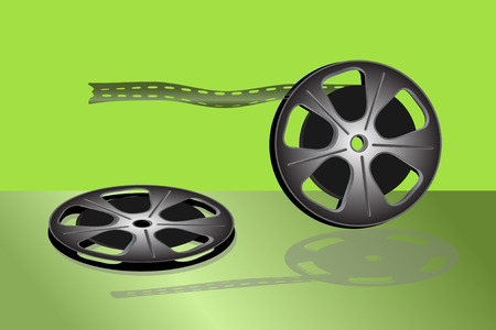Cinema video film isolated on green background