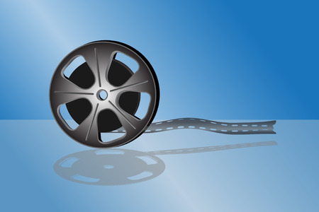 videofilm: Kino-Videofilm auf blauem Hintergrund isoliert