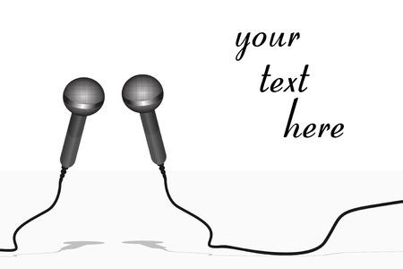 Deux microphones de métalliques argentés sur un fond blanc Vecteurs