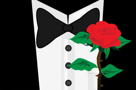 Portrait of gentleman with rose flower Illustration