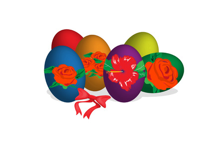 Easter eggs with floral patterns on top Stock Vector - 6631289