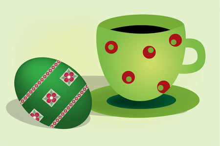 Easter egg with tea cup on table Stock Vector - 6631290