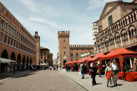 Ferrara 05.16.2010 - Market in the central square of Ferrara