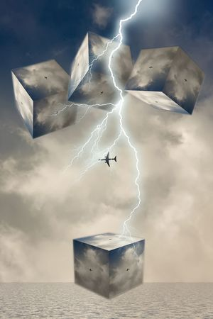Conceptual scene with flight under storm
