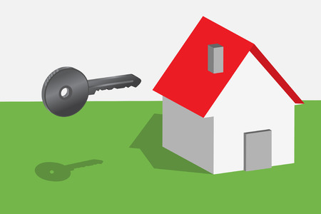 Conceptual representation of key and new house