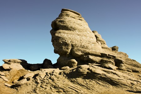 erode: Natural eroded, sphinx from Bucegi mountains Stock Photo