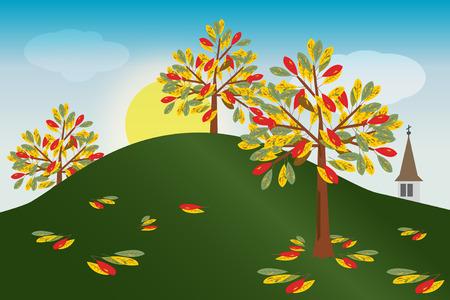 autumn scene: Autumn scene in rural environment Illustration