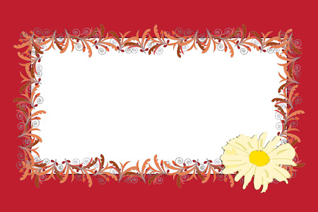 Graphic illustration with bloom flower and floral background