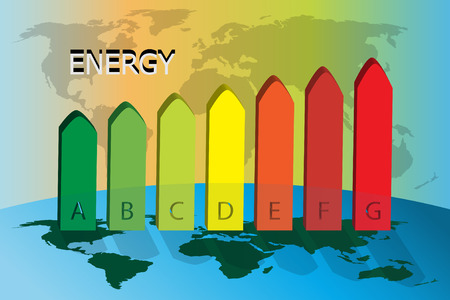 Conceptual illustration of energy consumption on the world map Illustration