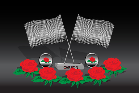 Celebration background with two flags of carbon texture  Vector
