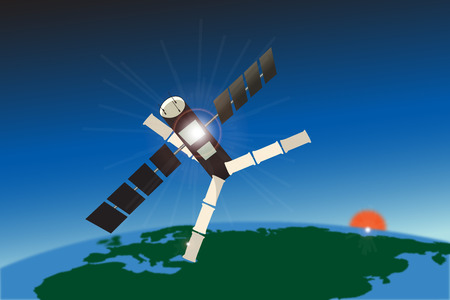A communications satellite and our home in this graphic illustrations. Vector
