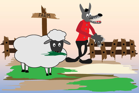 Cartoon illustration with wolf and sheep Vector