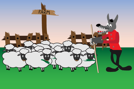 Cartoon illustration with wolf which is guard at the sheep gang
