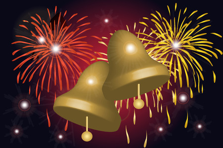 Graphic illustration of fireworks celebration and bells Vector