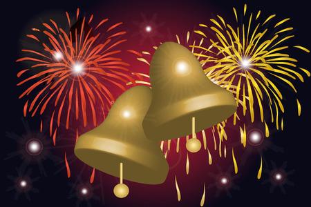 blowup: Graphic illustration of fireworks celebration and bells Illustration