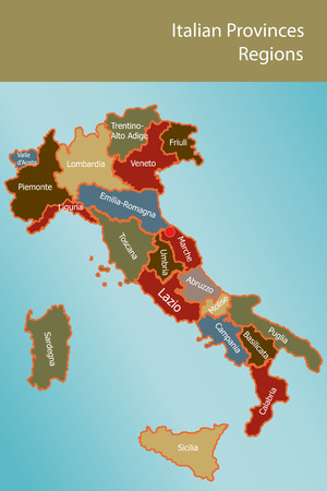 umbria: Map of Italy with provinces and regions name in italian Illustration