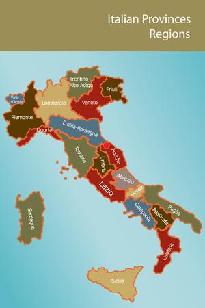 Mappa d'Italia con regioni province e il nome in italiano Archivio Fotografico - 8203397