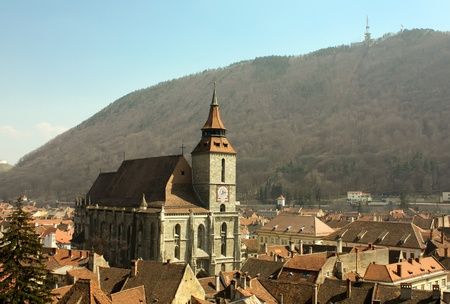 brasov: Central square from Brasov city.  Stock Photo