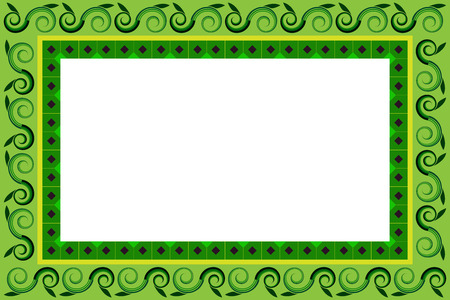 Frame of green leaves and swirl with white background.