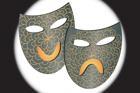 Masks representing theatre comedy and drama over gradient background