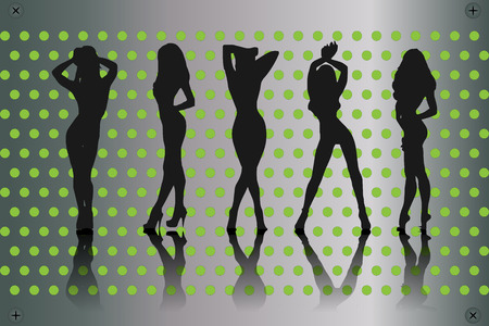 Silhouette of womens dancing at a disco on metallic background