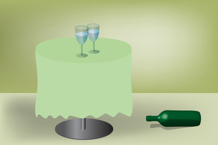 Two wineglasses on table and empty bottle on the paving Stock Vector - 8501609