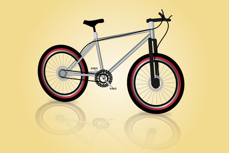 Graphic illustration of a mountain bike over shinny background
