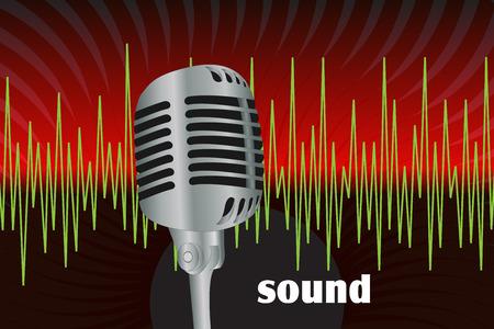 omroep: Grafische illustratie van microfoon en geluidsgolven Stock Illustratie