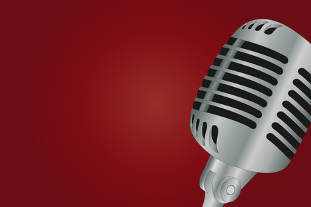 Graphic illustration of microphone over gradient background Vector